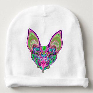 Psychedelic rainbow bat baby beanie