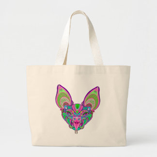 Psychedelic rainbow bat large tote bag