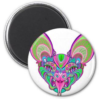 Psychedelic rainbow bat magnet