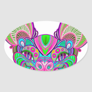 Psychedelic rainbow bat oval sticker
