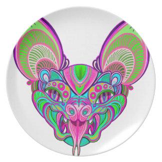Psychedelic rainbow bat plate