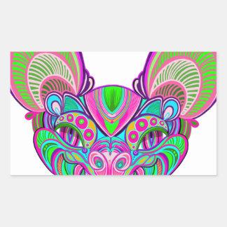 Psychedelic rainbow bat rectangular sticker
