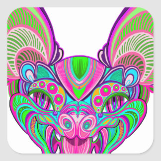 Psychedelic rainbow bat square sticker