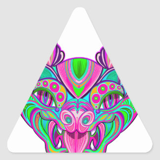 Psychedelic rainbow bat triangle sticker