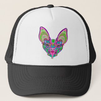 Psychedelic rainbow bat trucker hat