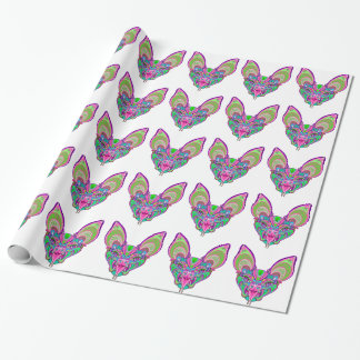 Psychedelic rainbow bat wrapping paper