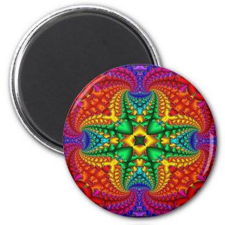Psychedelic Rainbow Fractal Fridge Magnets