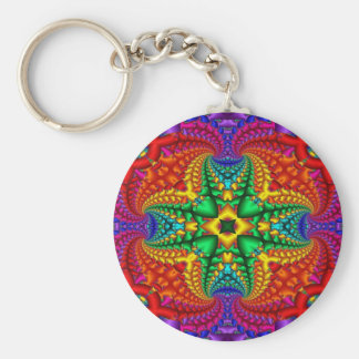 Psychedelic Rainbow Fractal Key Ring