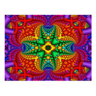 Psychedelic Rainbow Fractal Postcard