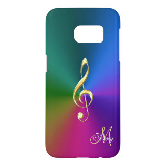 Psychedelic Rainbow Gold Music Clef Galaxy S7 Case