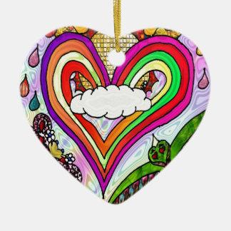 Psychedelic Rainbow Heart Art Print Ceramic Heart Decoration