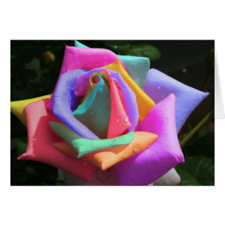 Psychedelic Rainbow Rose Card