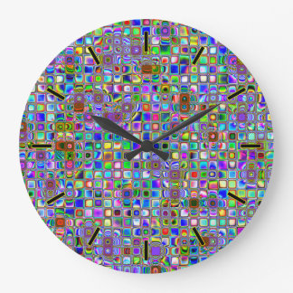 Psychedelic Rainbow Textured Mosaic Tiles Pattern Large Clock