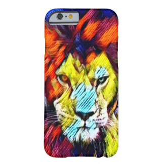 Psychedelic Rainbow Tie Dye Lion Wildlife Art Barely There iPhone 6 Case