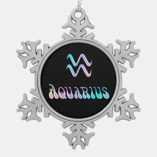 Psychedelic Rainbow Zodiac Sign Aquarius Pewter Snowflake Decoration