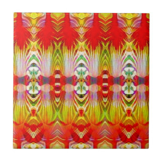 Psychedelic Red Yellow Small Square Tile
