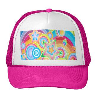 Psychedelic Retro Star Power Design Mesh Hats