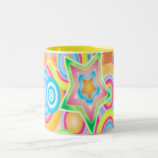 Psychedelic Retro Star Power Design Coffee Mugs