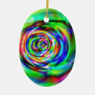psychedelic rose ceramic ornament