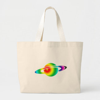 Psychedelic Saturn Large Tote Bag