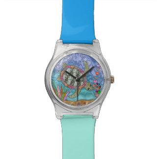 Psychedelic Sea Turtle Seahorse Art Designer Watch