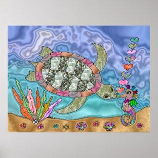 Psychedelic Sea Turtle Seahorse Art Poster