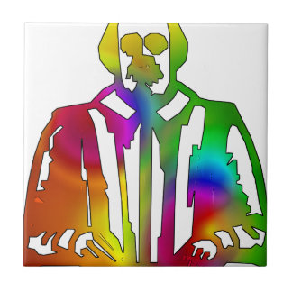 Psychedelic Shakespeare Small Square Tile