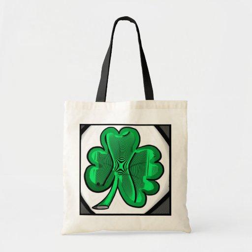 Psychedelic shamrock reusable bag