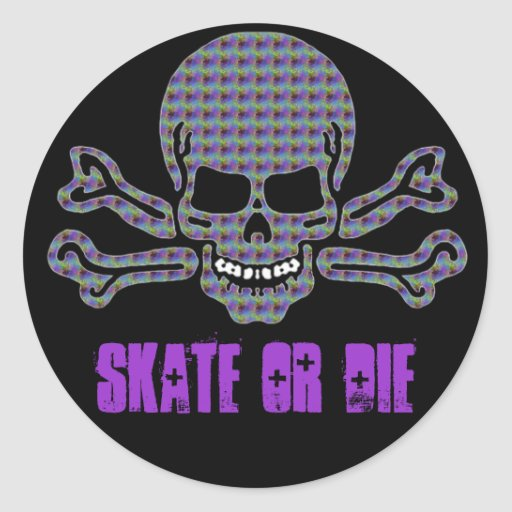psychedelic skull and crossbones round stickers