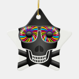 psychedelic skull ceramic ornament