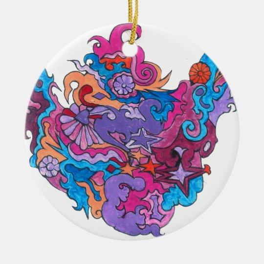 Psychedelic Smile Ceramic Ornament