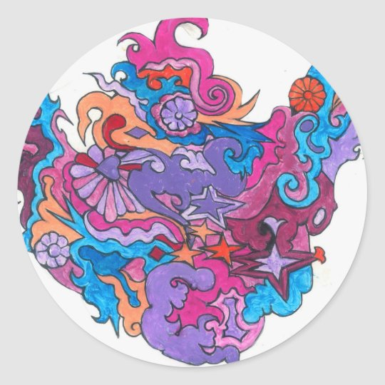 Psychedelic Smile Classic Round Sticker