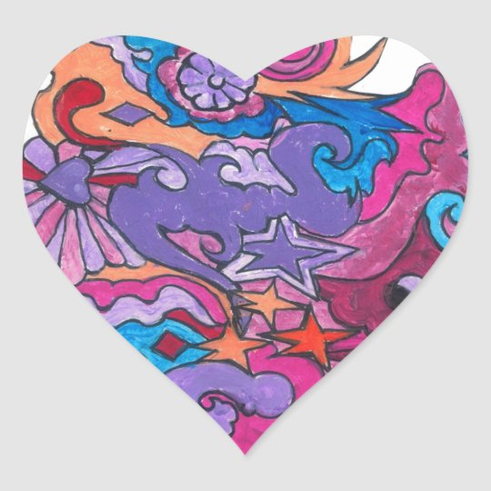 Psychedelic Smile Heart Sticker