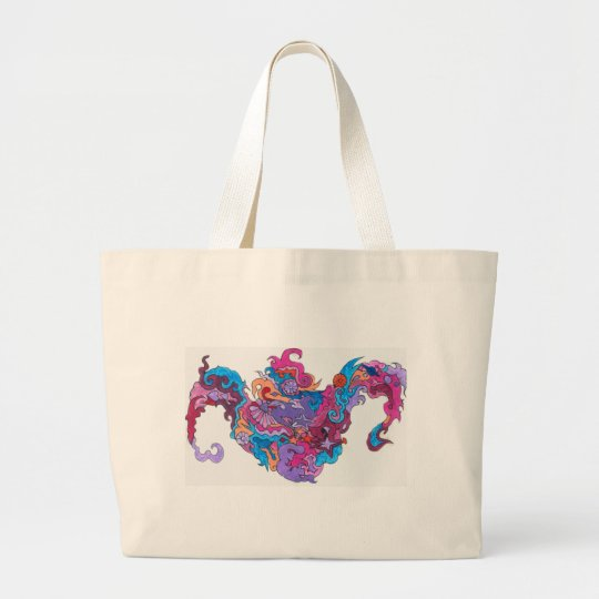 Psychedelic Smile Large Tote Bag
