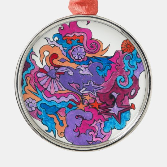 Psychedelic Smile Metal Ornament