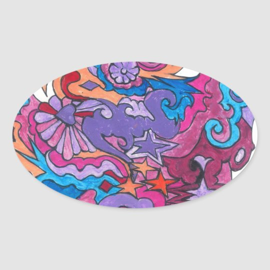 Psychedelic Smile Oval Sticker