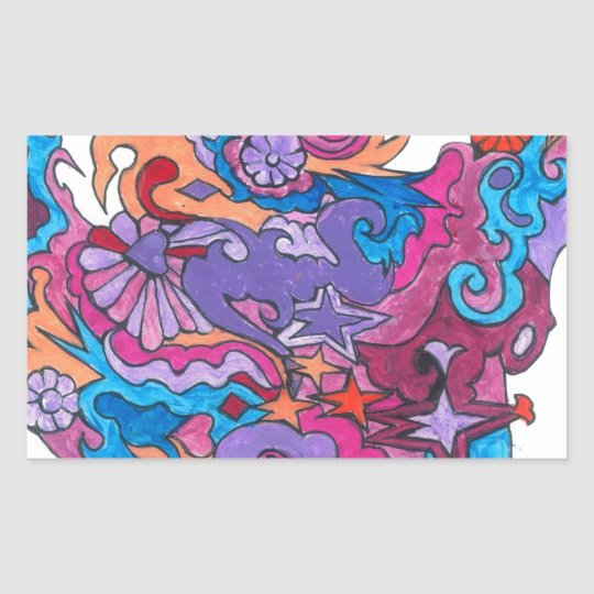 Psychedelic Smile Rectangular Sticker