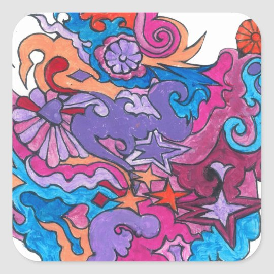Psychedelic Smile Square Sticker
