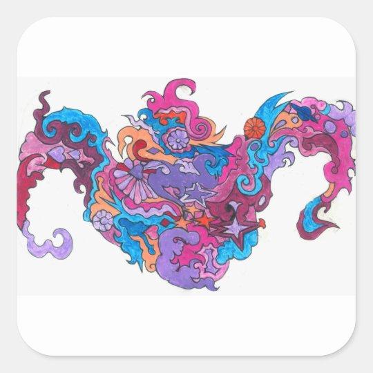Psychedelic Smile Square Sticker