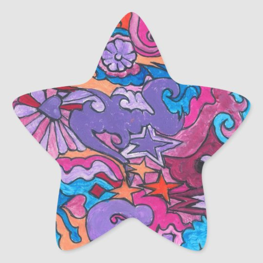 Psychedelic Smile Star Sticker