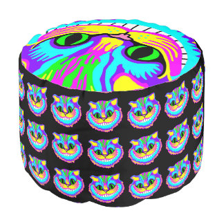 Psychedelic Smiling Colorful Crazy Cat Pouf