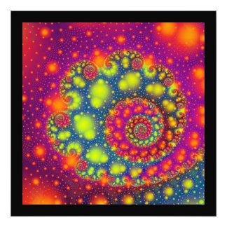 Psychedelic Spiral Neon Decorative Abstract Art Photo Print