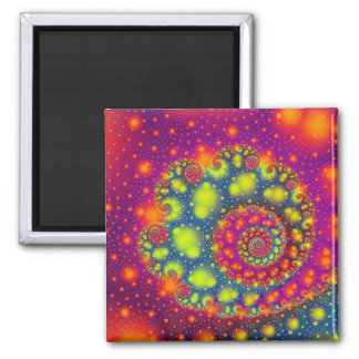 Psychedelic Spiral Neon Decorative Abstract Art Square Magnet