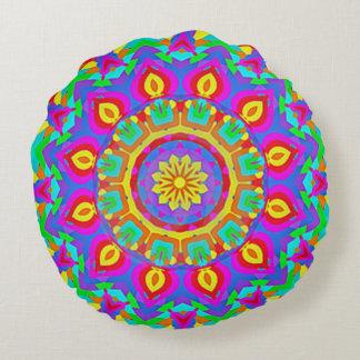 Psychedelic Spiritual Wheel Mandala Round Pillow
