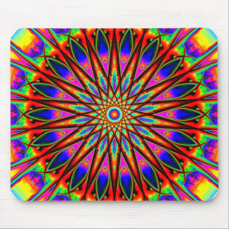 Psychedelic Star Mandala Mouse Pad