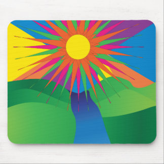 Psychedelic Sun Mountains River Neon Mouse Pad