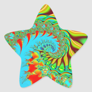 Psychedelic Swirl Art Fractal Star Sticker
