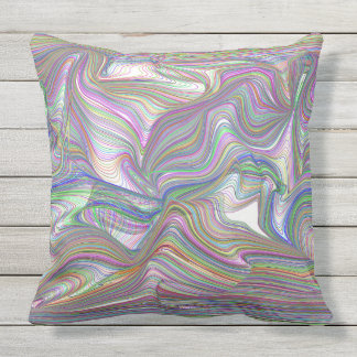 Psychedelic Swirl Multicolor Outdoor Cushion