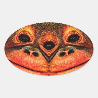 Psychedelic Three Eyed Monkey Oval Sticker