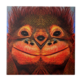 Psychedelic Three Eyed Monkey Small Square Tile